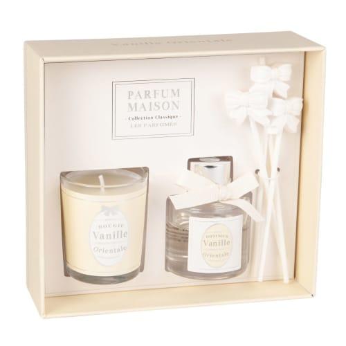 5 pcs Plateau en bois et perles Bougie parfumée et Reed Diffuseur Maison Ensemble cadeau décor
