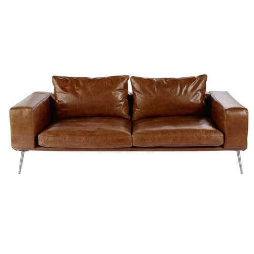 Cognac Vintage 3-Seater Leather Sofa