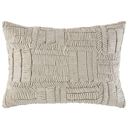Cojín de algodón color crudo y plateado con motivos gráficos