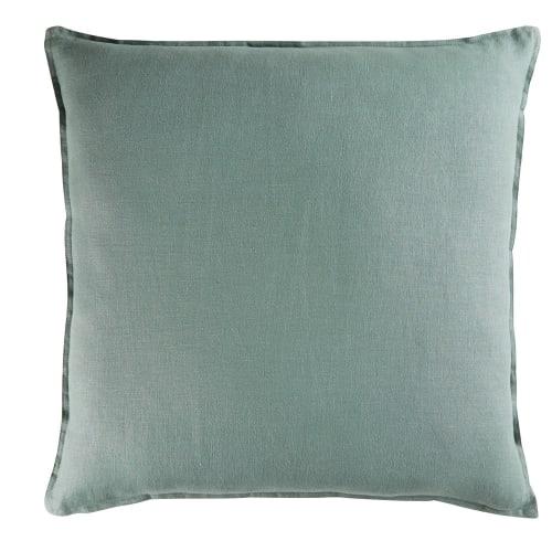Cojín de lino lavado verde albahaca 60x60 | Maisons du Monde