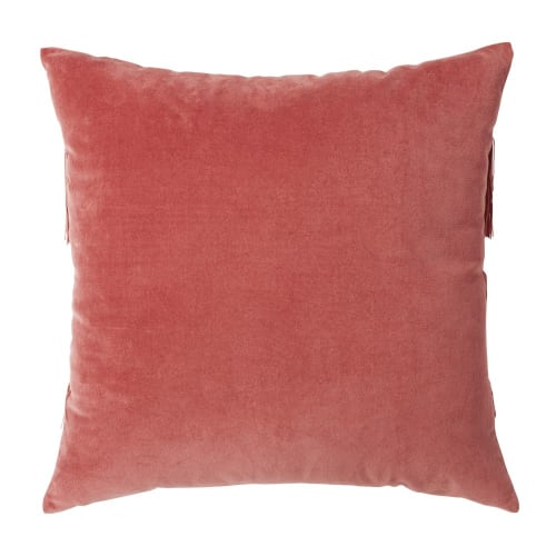 Cojín de terciopelo rojo con flecos rosas 45x45 LUCETTE