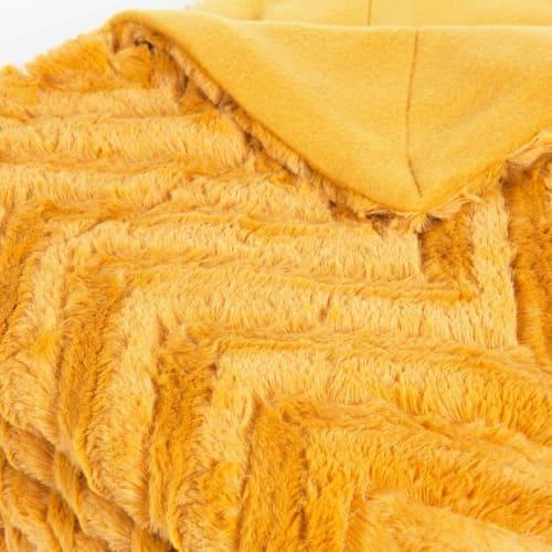 Colcha de imitación de piel mostaza 130x170 Pearson