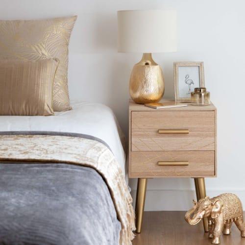 anti-polvere 40 x 35 x 50 cm organizer portaoggetti portaoggetti impermeabile Ejoyous Comodino moderno solido con due cassetti superficie liscia comodino per camera da letto comodino in legno