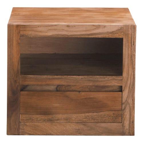 Comodino in massello di legno di sheesham con cassetto