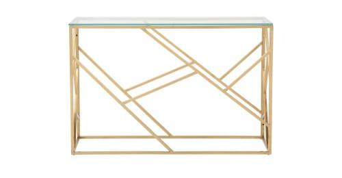 Consola de cristal y metal dorado Arago