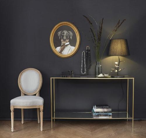 console avec plateaux miroirs et metal coloris laiton maisons du monde