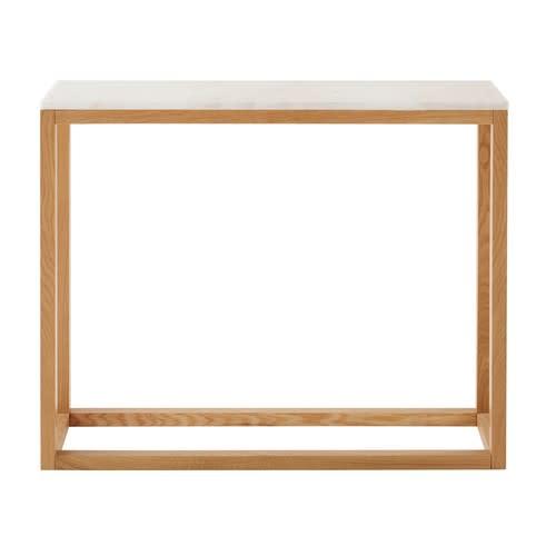 Tafel Van Marmer.Console Tafel Van Massief Eikenhout En Wit Marmer