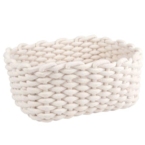 Corbeille Rectangulaire En Coton Blanc Maisons Du Monde