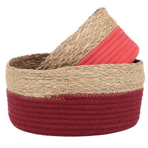 Corbeilles en coton tressé bordeaux et rose (x2)