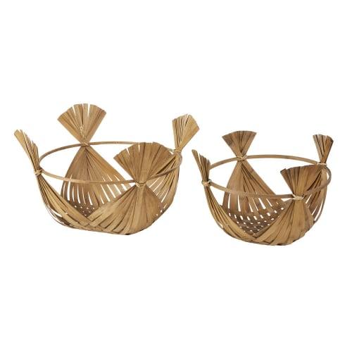 Corbeilles en rotin et bambou tressé (x2)
