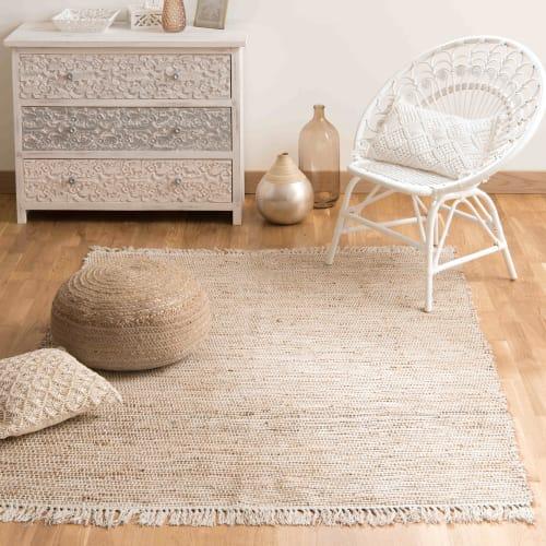 Cotton And Jute Woven Rug 160 X 230cm Lodge Maisons Du Monde