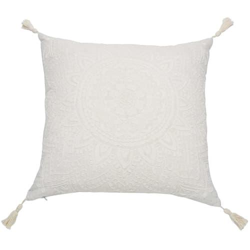 Coussin à pompons blanc 45x45 | Maisons du