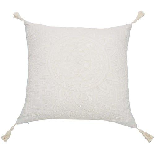 Coussin à pompons blanc 45x45
