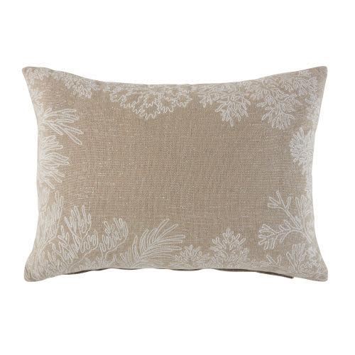 Coussin en coton beige motifs coraux brodé
