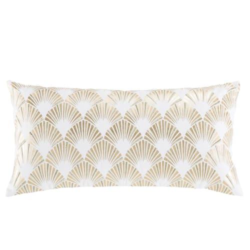 Coussin en coton blanc motifs graphiques dorés 9x9  Maisons du Monde