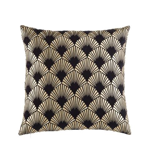 Coussin en coton noir motifs graphiques dorés 9x9  Maisons du Monde
