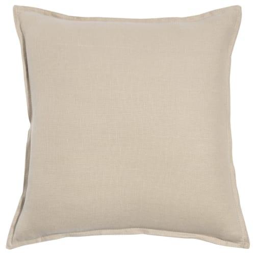 Coussin en lin lavé beige 45x45 | Maisons