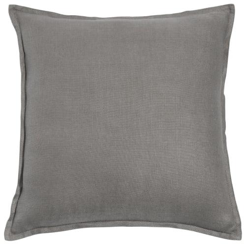 Coussin en lin lavé gris 60x60 | Maisons