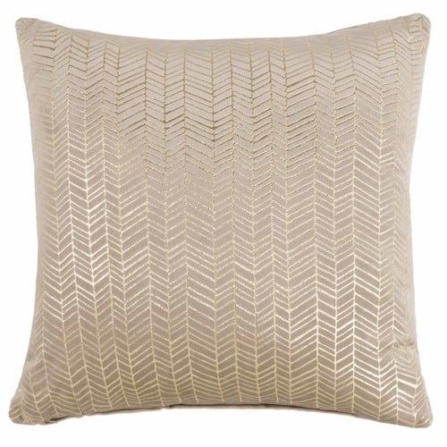 Coussin en tissu beige motifs dorés 45x45