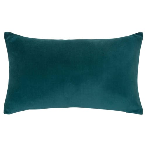 Coussin en velours bleu canard 30x50 | Maisons