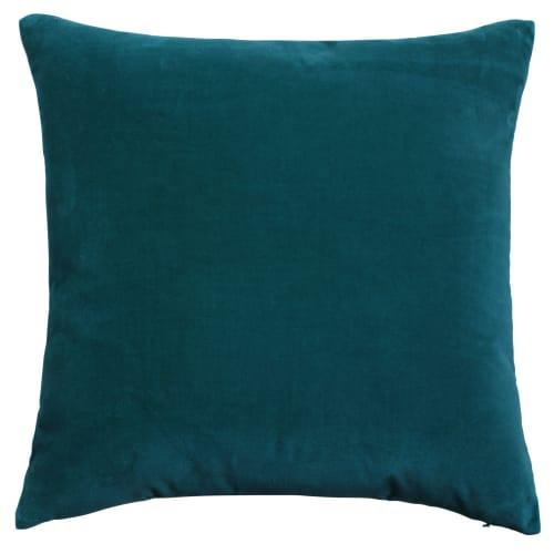 Coussin en velours bleu canard 45x45   Maisons
