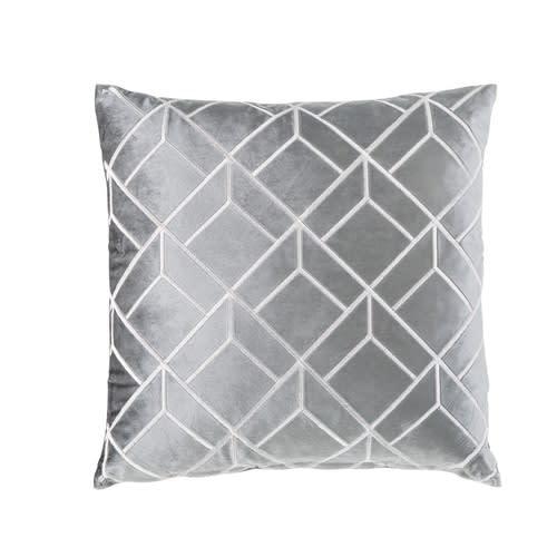 Coussin en velours gris motifs graphiques