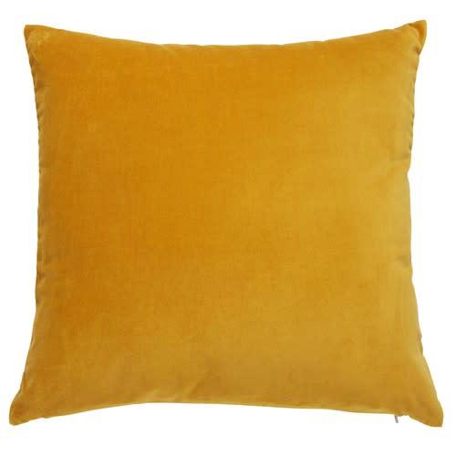 Coussin en velours jaune moutarde 45x45cm