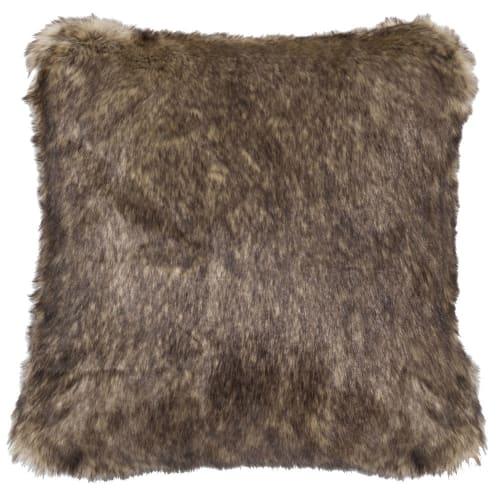 Coussin imitation fourrure marron 45x45 Shefford