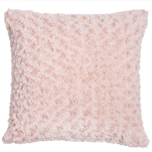 Coussin imitation fourrure rose 45x45 | Maisons