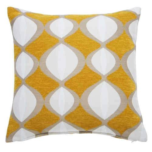 Coussin jaune moutarde motifs bicolores 4