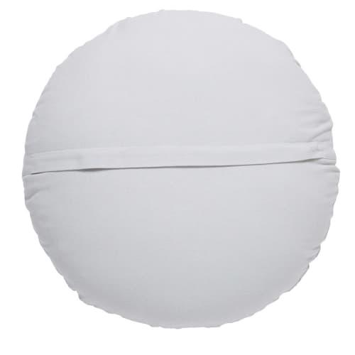 Coussin rond en coton brodé blanc D.45cm