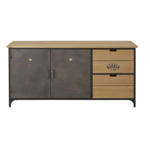 Credenza a 2 ante e 2 cassetti in metallo e legno massello di abete