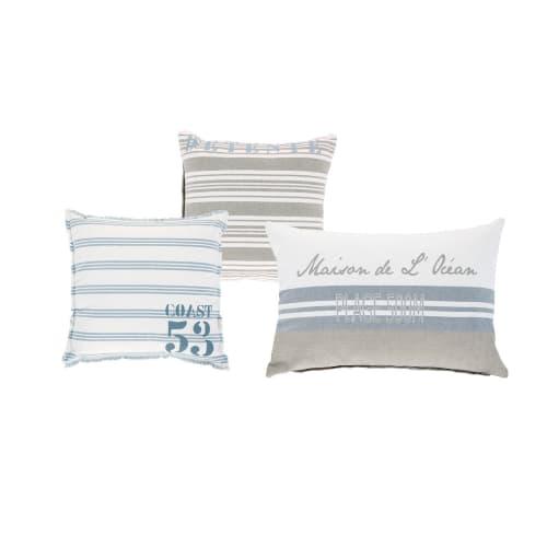 Cuscini Divano Maison Du Monde.Cuscini In Ecru E Cotone Blu Con Motivi X3 Brocante De La Mer