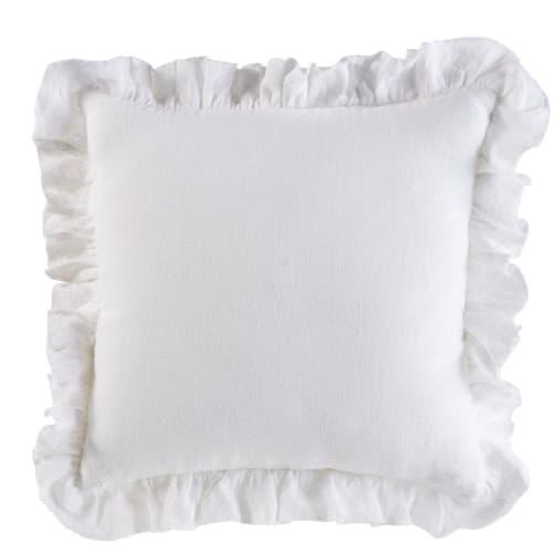Cuscino con volant in cotone bianco ricamato, 45x45 cm