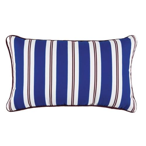 Cuscino da esterno blu motivi a righe bicolori, 30x50 cm