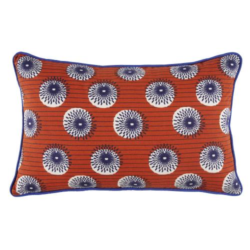 Cuscini Divano Maison Du Monde.Cuscino Da Esterno In Cotone Arancione A Motivi Multicolori 30x50