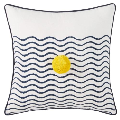 Cuscino in cotone bianco stampa blu e pompon giallo, 40x40 cm