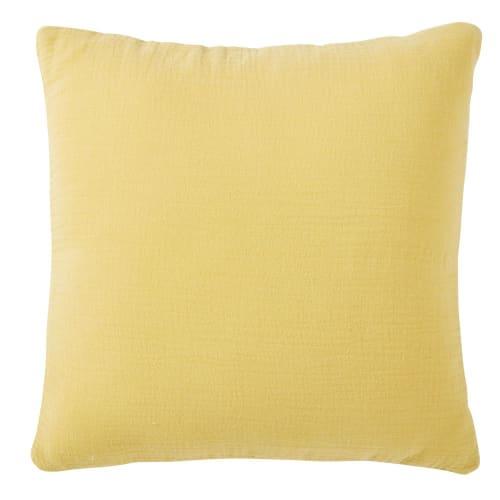 Cuscino in cotone giallo senape stampa stelle dorate, 35x35 cm
