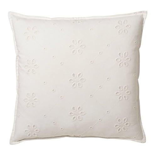 Cuscino in cotone sangallo bianco, 45x45 cm