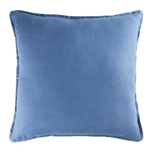 Cuscini Blu.Cuscino In Lino Lavato Blu Navy 60x60 Maisons Du Monde