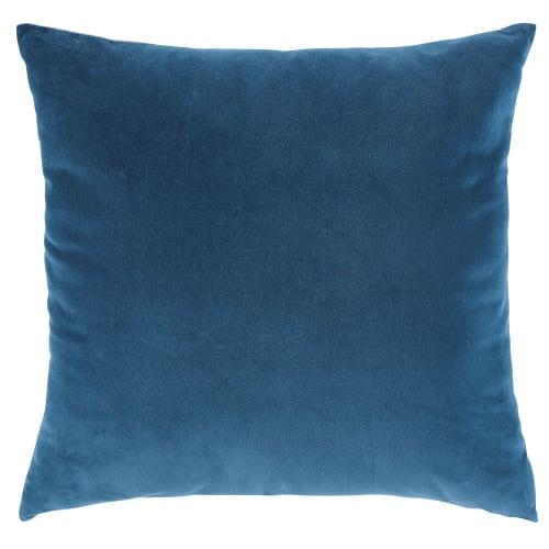 Cuscini Blu.Cuscino In Velluto Blu Pavone 45x45 Cm Maisons Du Monde