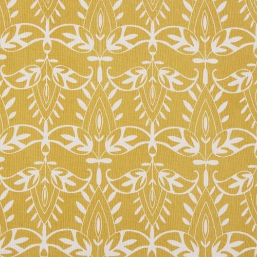 Cuscino per sedia in cotone giallo motivi grafici bianchi