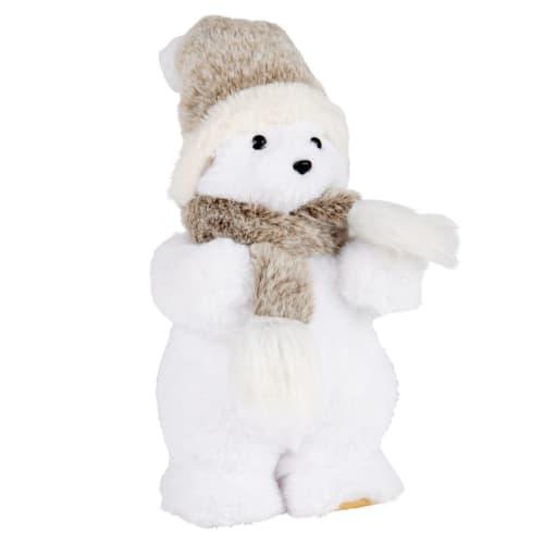 Déco de Noël ours polaire blanc écharpe grise