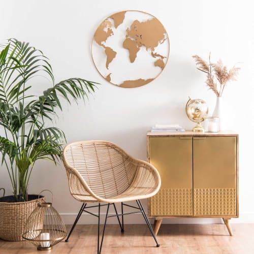 Déco murale carte du monde en métal doré 9x9  Maisons du Monde