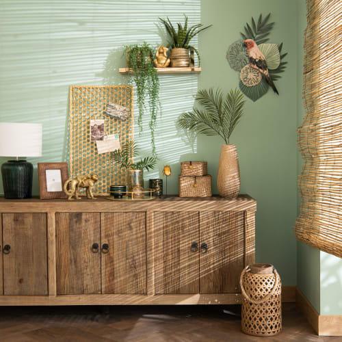 Decorazione Da Parete Stile Tropicale Verde E Rosa 36x56 Cm Parrot Maisons Du Monde