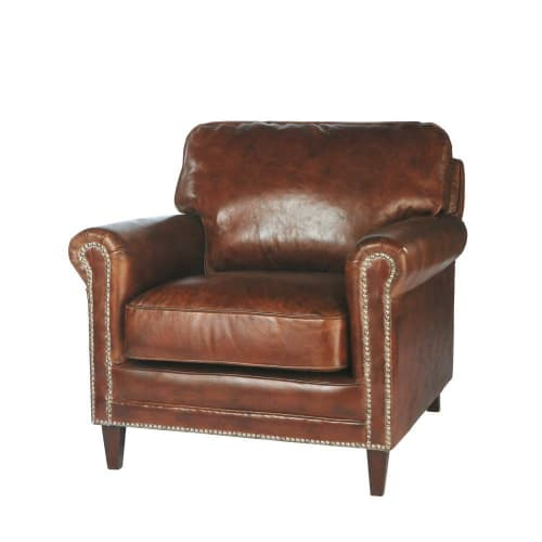 Distressed Leather Armchair in Brown Sinatra | Maisons du ...