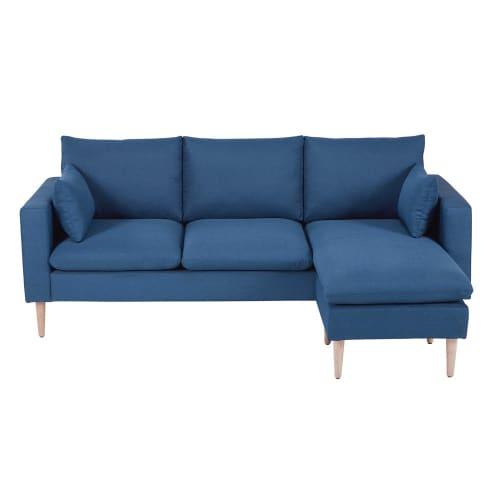 Divano ad angolo 3/4 posti blu in tessuto | Maisons du Monde