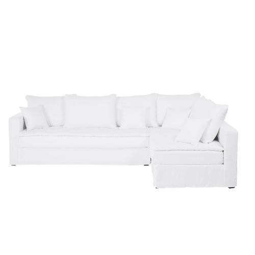 Divano ad angolo 5 posti in lino lavato bianco