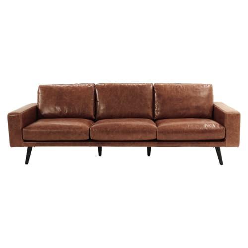 Divano in cuoio marrone cognac 4 posti clark maisons du for Cerco regalo mobili