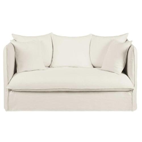 Divano letto 2 posti bianco in lino lavato